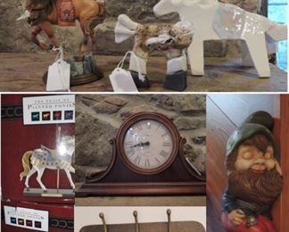 Horse items, mantle clocks