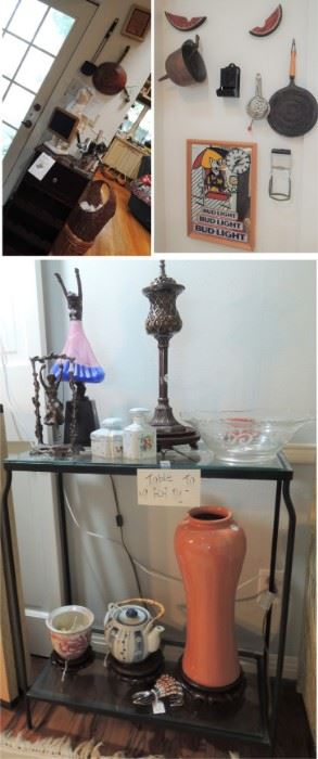 Old kitchen items, Bud Light clock, urns, figurines and brass sculptures