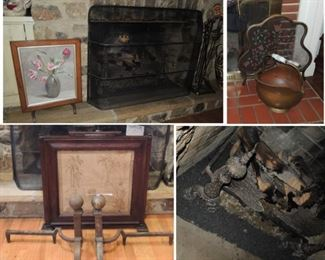 Fire Place decor: 2 antique andiron sets, copper coal bucket, large oversize screen,  3 framed screens, tools