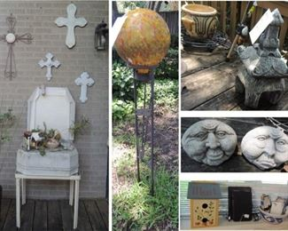 Wall crosses, garden spheres glass and cement, decorate rocks and figurines, bird houses, bird feeders, planters and planter stands