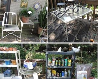 Lawn-garden items, tools and products, décor, cement bird baths, frogs, fish, pig, armadillo, fish and more Plant and décor holders, happy/sad rocks, crosses, balls, planters and pots Furniture: side tables – iron plant stands – candle holders – firewood holder Large plants – yard tool-holder