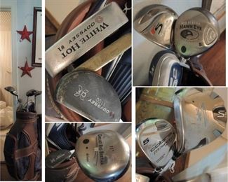 Woman's GOLF bag and clubs: Oddyssey White Hot putters, Great Big Bertha, King Cobra and more