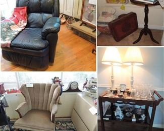 Bar cart, Clam back chairs. Wood plant pedestals, leather rocker recliner