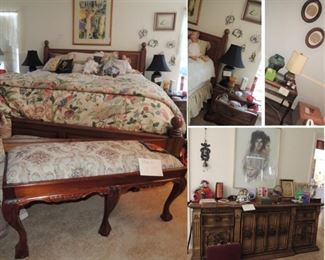 Oak king size bed with plush mattress, side tables, dressers, chests, lamps