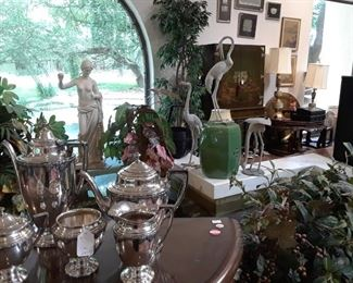 Statue and green garden stool sold. Cranes and other items still available