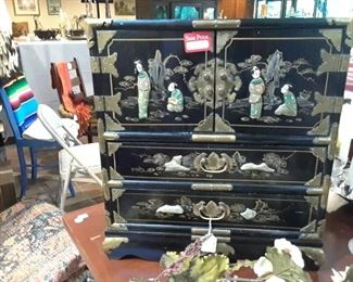Jewelry  box has fitted drawers. Reduced from $395 to $125. Excellent condition.