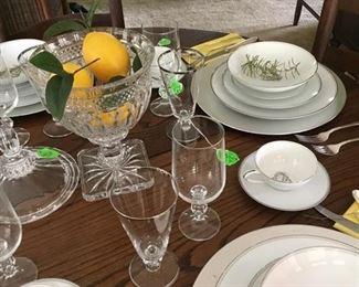 Set of Noritake China, Pattern Candice.   Beautiful silverware, crystal on table.