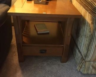 BASSET MISSION OAK STYLE END TABLES (2)