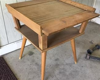 Mid mod side table, one of a pair