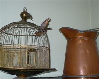 BRASS BIRD CAGE         COPPER PITCHER