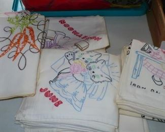 HAND DECORATED FEED BAGS  USED AS DISH TOWELS   FROM THE EARLY 1900'S