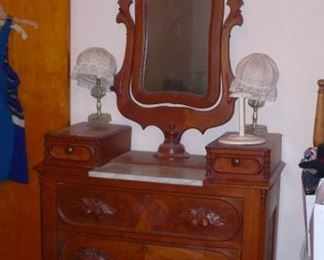 ANTIQUE MARBLE INSERT  DRESSER  CARVED PULLS VERY NICE