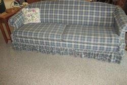 blue plaid sofa