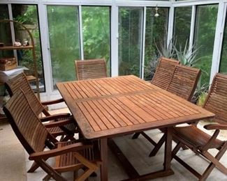 Eucalyptus or teak table and chairs