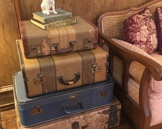 My  favorite part of this sale is this wonderful old stack of antique suitcases !!