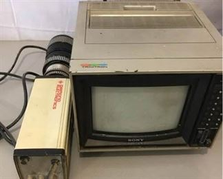 Vintage Security Camera and Color TV Monitor