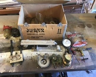 Assortment of Parts in a Wood Box