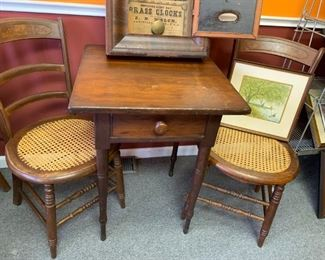 """Pair of Victorian Cane Bottom Chairs & Accent Table 22"""" x 22""""!"""