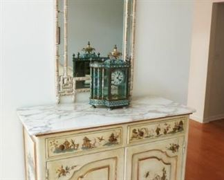 Asian cupboard w/ marble top, Asian style mirror, beautiful collectible cloisonne mantle/table top clock