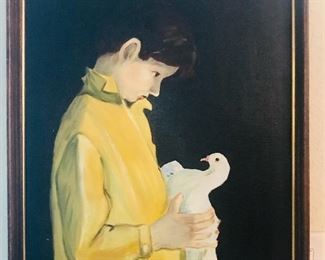 Boy with dove, Koko original large oil on canvas