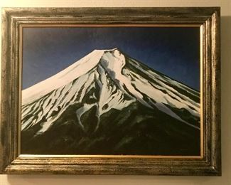 Mount Fuji, large original oil on canvas by Koko. This is magical and has expert texture.