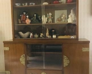 Mid Century modern Japanese brass mount china cabinet. There is also a matching side board equally as fine.