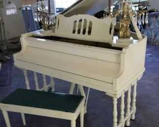 Vintage 1920's Starck white baby grand piano in great tune, with bench, in great condition