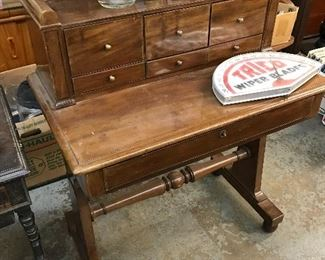 19th Century Green Revival walnut Writing Desk with pull out - leather writing surface and Reading Stand