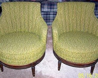 Barrel back swivel chairs
