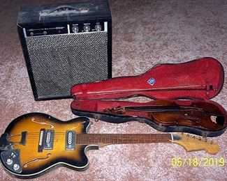 6 String electric guitar, amp and old violin
