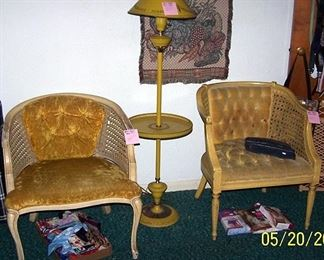 Gold chairs and gold floor lamp w/ table