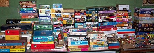 Lots of puzzles and board games