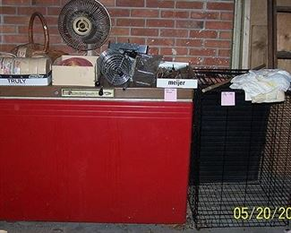 Chest freezer (not working - good for grain storage), dog cage, etc...