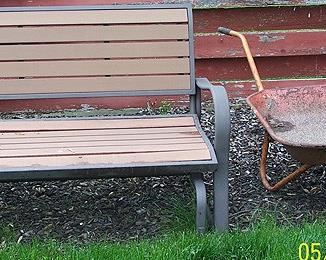 Lifetime garden bench, wheel barrow