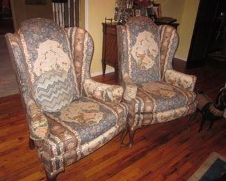 Pair Custom Wing Chair Seating