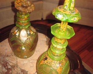 Stunning Uranium Cambridge Vaseline Glass Decanters