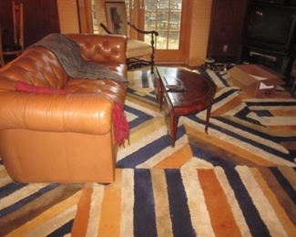Edward Fields Vintage Rug & Leather Chesterfield Sofa
