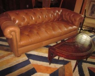 Leather Chesterfield Sofa & Leather Top Half Moon Drop Leaf Table
