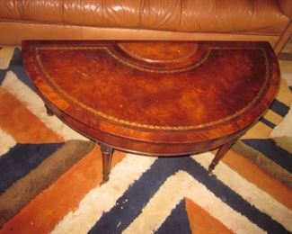 Leather Top Half Moon Drop Leaf Table