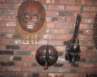 Wood African Masks Wall Decor