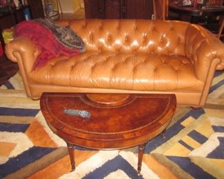 Edward Fields Vintage Rug Leather Top Half Moon Drop Leaf Table & Leather Chesterfield Sofa