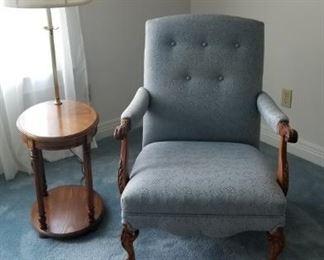 Chair, table lamp,  rug
