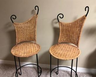 counter height wicker and wrought iron stools