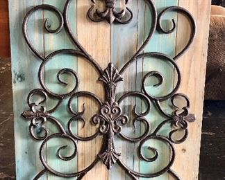 Wooden and Iron Fleur-de-lis Wall Hanging (approx 3' x 2')