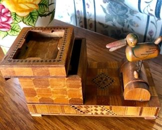 c.1950's, Vintage Inlaid Wooden Cigarette Dispenser (and it works!)