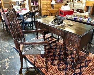 Antique Mahogany Hand Carved Ornate Desk and Chair