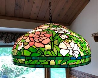 Vintage hanging leaded glass shade.