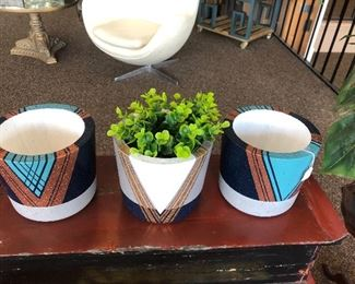 hand painted deco inspired cement planters