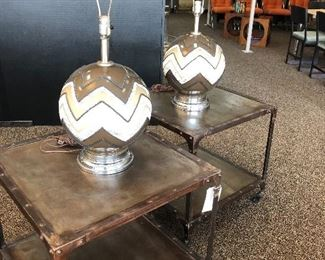 Pair of industrial style metal side tables with retro ceramic pair of lamps