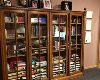 7' Victorian Glass-Front 2 Pc. Bookcase